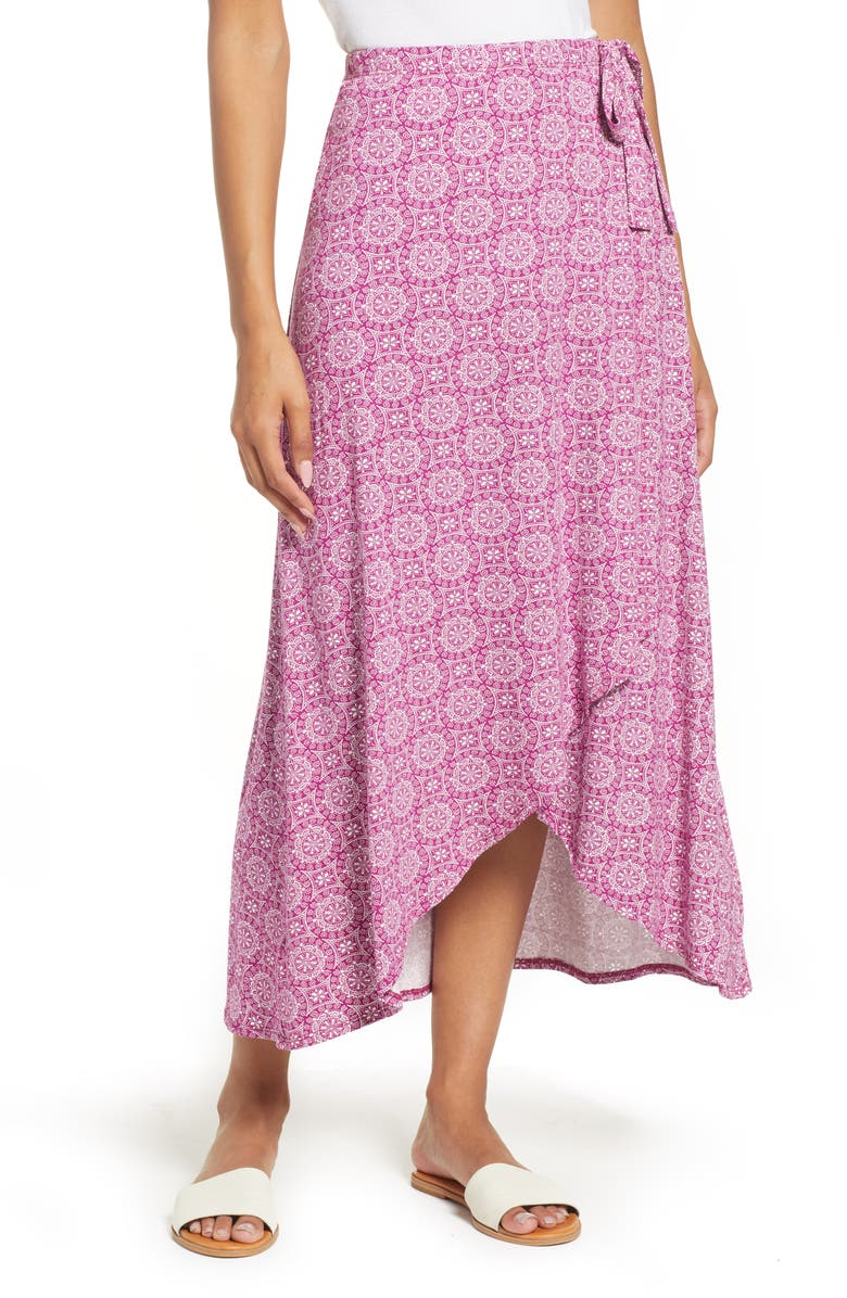 LOVEAPPELLA High Low Faux Wrap Skirt, Main, color, MAGENTA