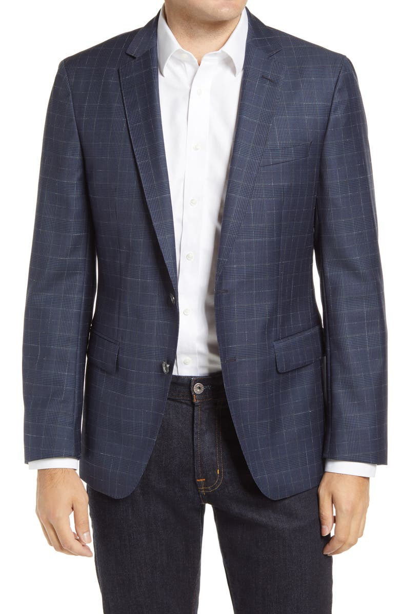 BOSS Hartlay Trim Fit Glen Plaid Wool Sport Coat, Main, color, NAVY