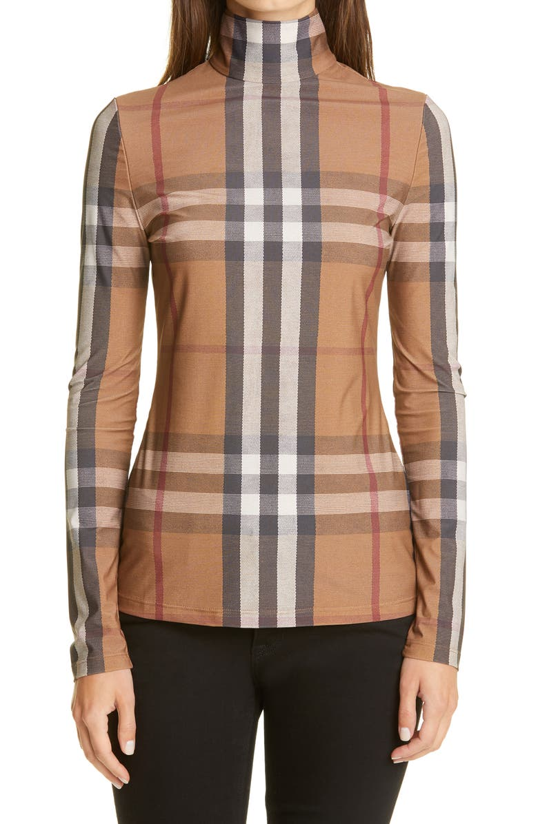 BURBERRY Check Stretch Jersey Top, Main, color, SOFT FAWN CHECK