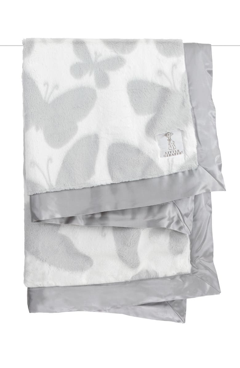 LITTLE GIRAFFE Luxe<sup>™</sup> Butterfly Baby Blanket, Main, color, SILVER