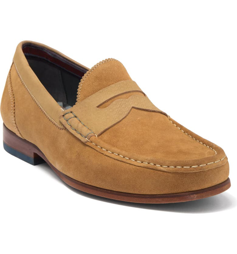 TED BAKER LONDON Xapon Penny Loafer, Main, color, SAND SUEDE