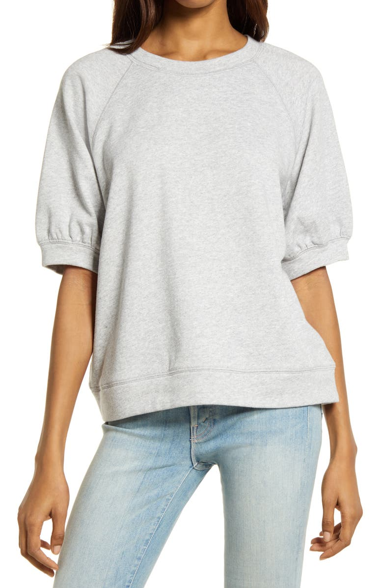 TREASURE & BOND Puff Sleeve Sweatshirt, Main, color, GREY LIGHT HEATHER