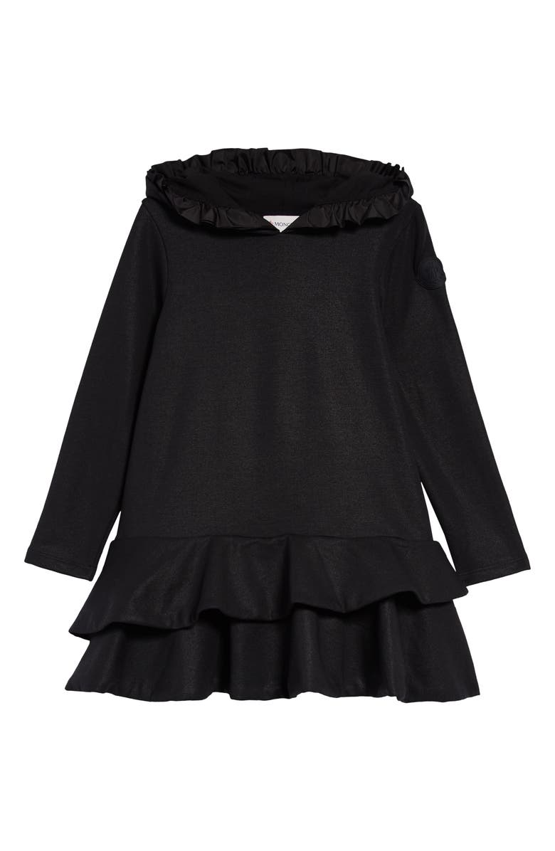 MONCLER Kids' Ruffle Trim Sweatshirt Dress, Main, color, BLACK
