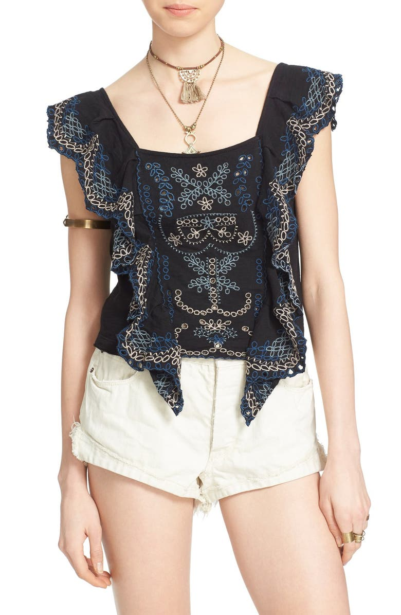 FREE PEOPLE 'Shake Baby Shake' Embroidered Ruffle Top, Main, color, Black