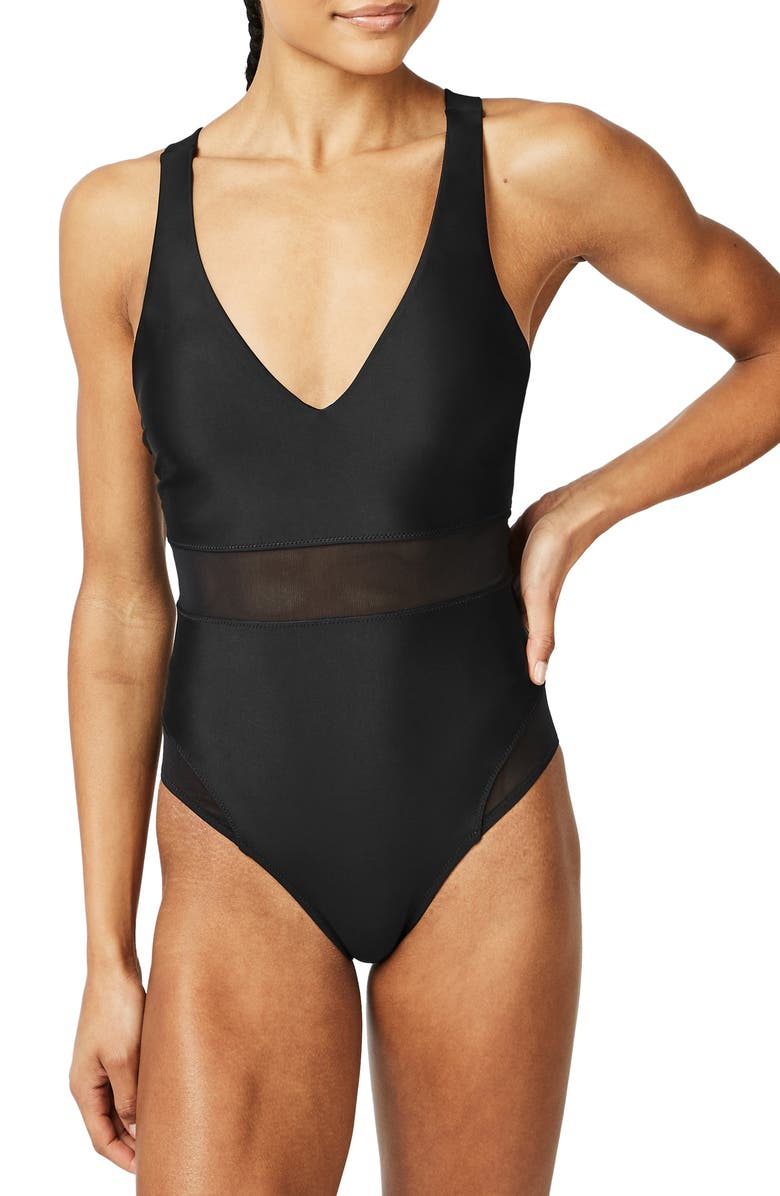 SWEATY BETTY Lido Mesh One-Piece Swimsuit, Main, color, Black