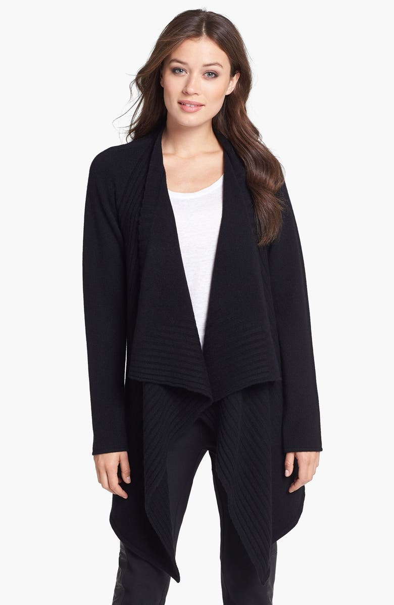 NORDSTROM COLLECTION Engineered Rib Cashmere Cardigan, Main, color, 001