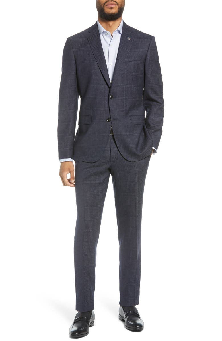TED BAKER LONDON Jay Windowpane Wool Suit, Main, color, 400