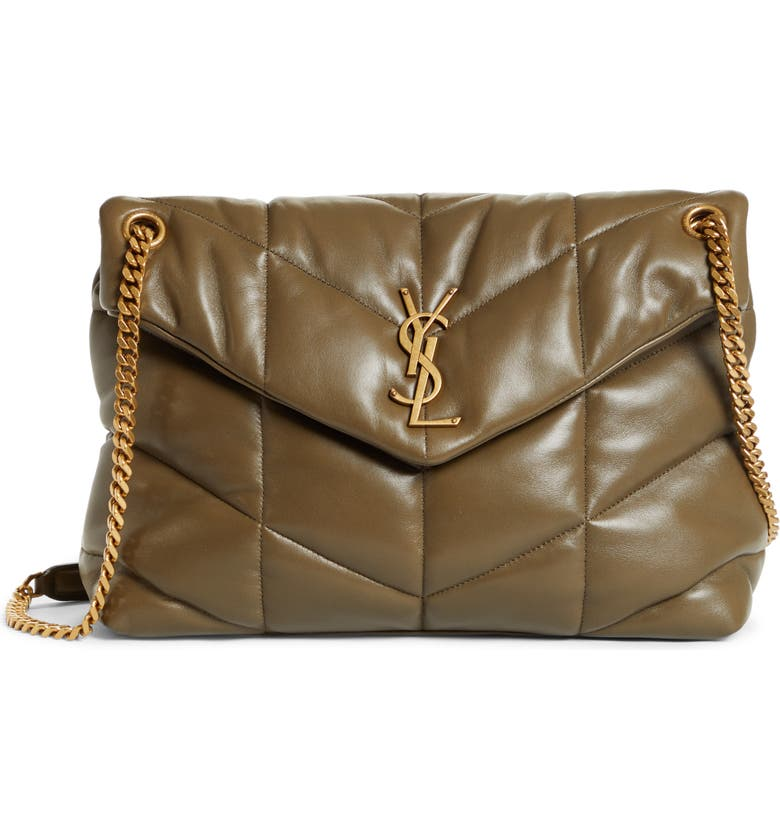 SAINT LAURENT Medium Loulou Puffer Quilted Leather Crossbody Bag, Main, color, 020