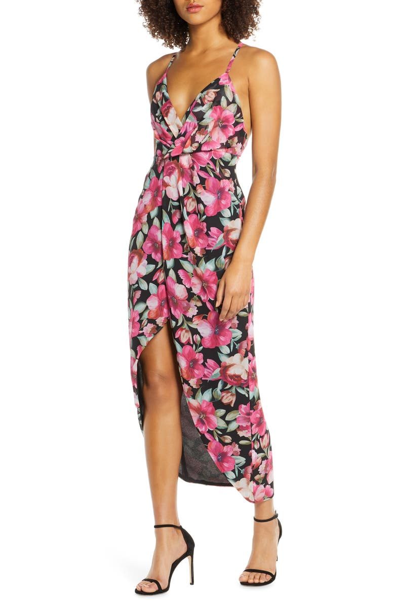 FAME AND PARTNERS The Ina Floral Print Tulip Hem Cocktail Dress, Main, color, 660