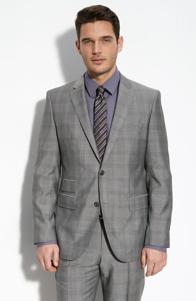 ZZDNUHUGO BOSS BOSS Black 'The Sweet 2/Sharp 2' Trim Fit Grey Plaid Wool Blend Suit, Main, color, 030