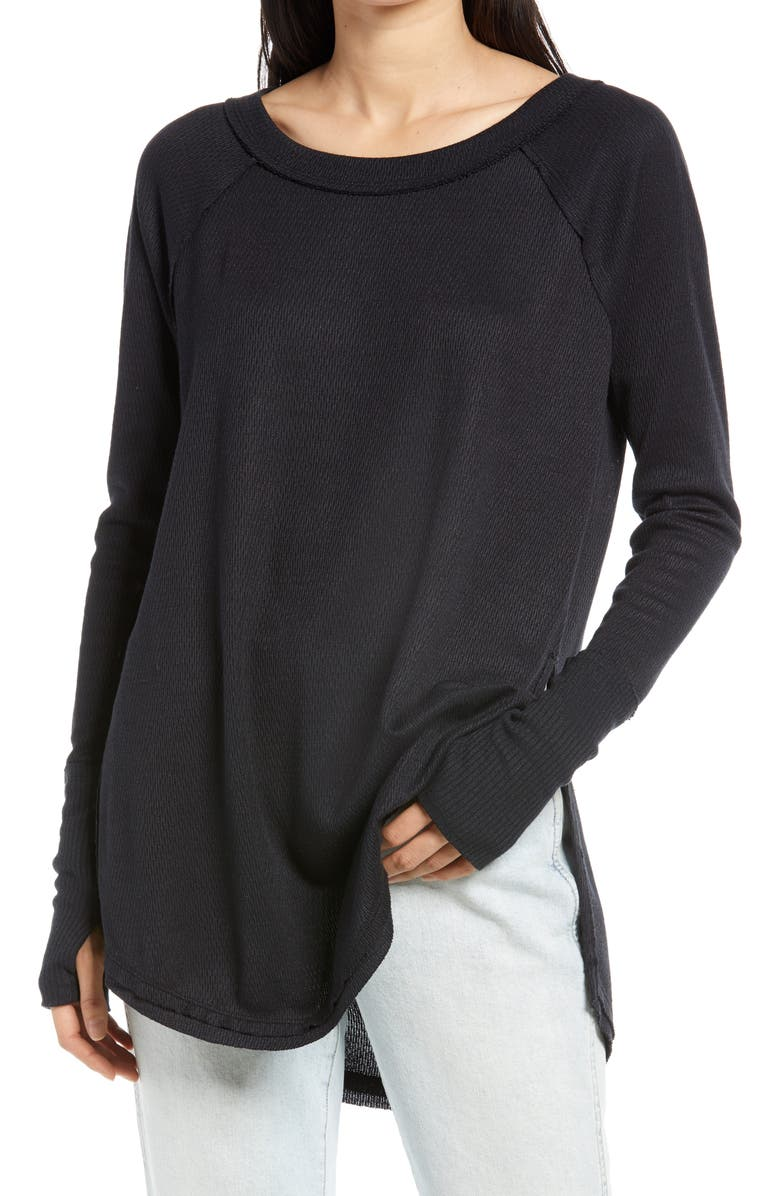 FREE PEOPLE Snowy Thermal Shirt, Main, color, BLACK