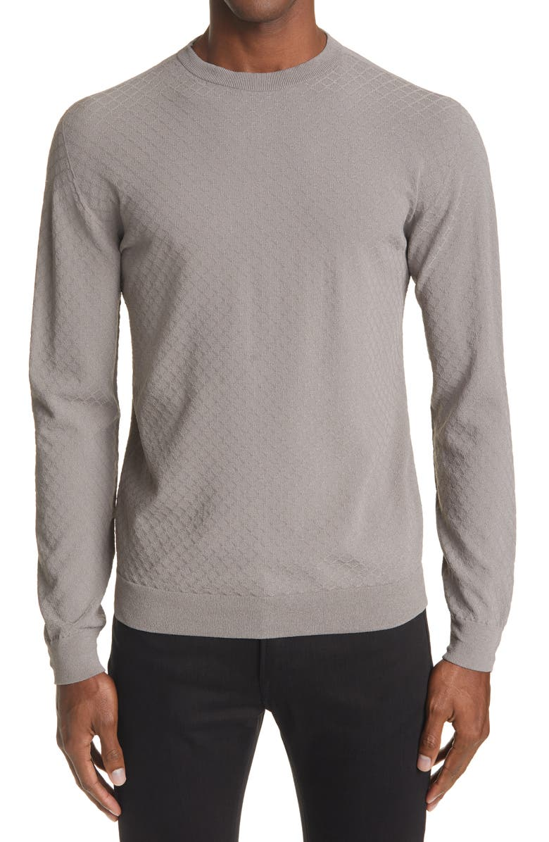 GIORGIO ARMANI Tonal Texture Crewneck Sweater, Main, color, GREY
