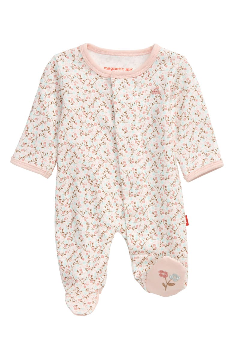MAGNETIC ME Bedford Floral Organic Cotton Footie, Main, color, 650