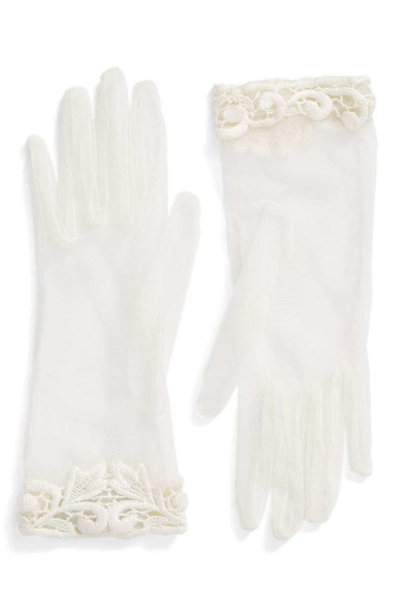 ROSA CLARÁ Lace Trim Tulle Gloves, Main, color, IVORY