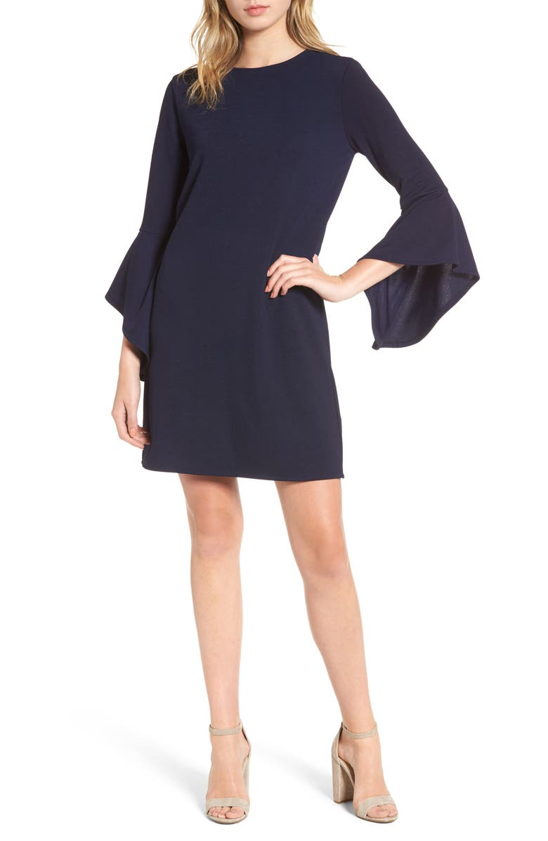 ONE CLOTHING Bell Sleeve Shift Dress, Main, color, 400