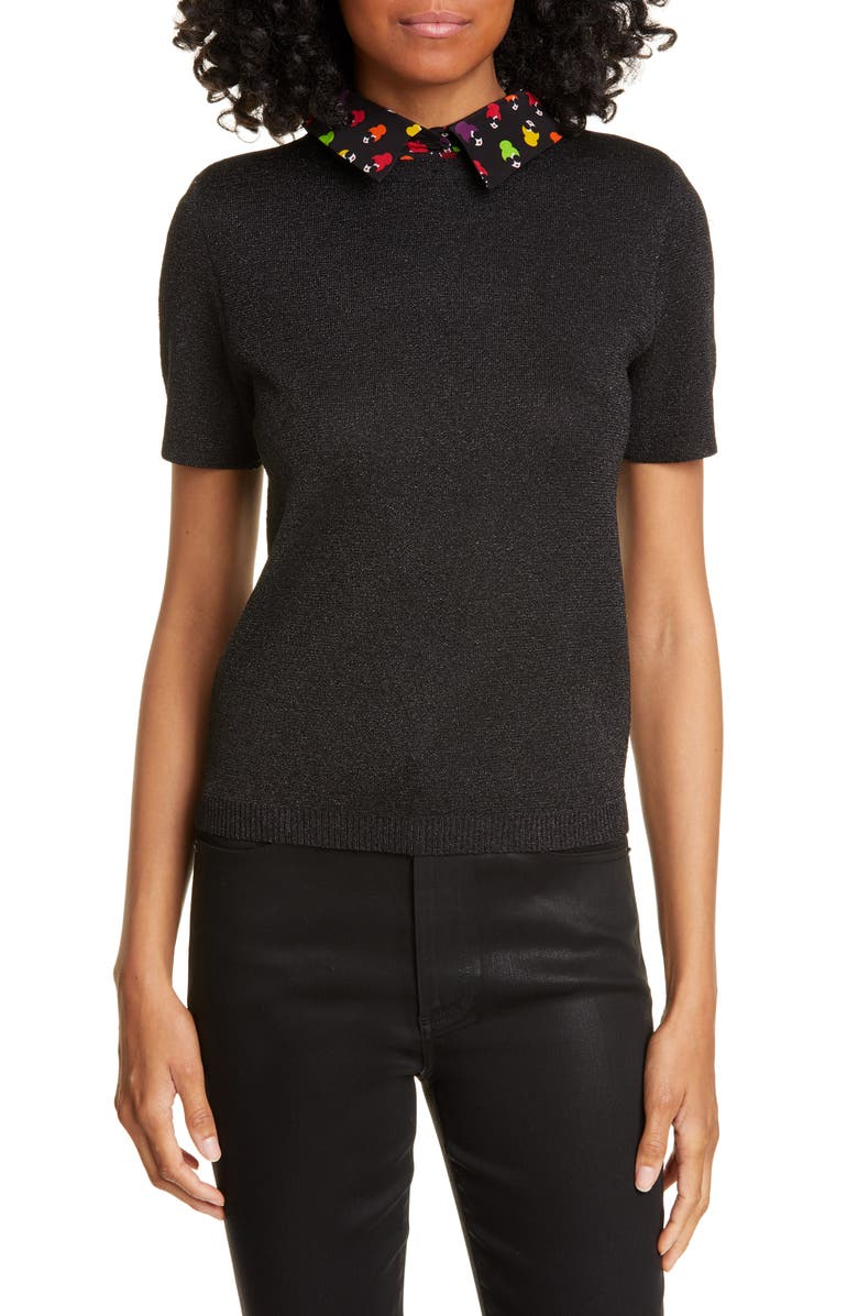 ALICE + OLIVIA Aster Removable Graphic Collar Short Sleeve Sweater, Main, color, 001