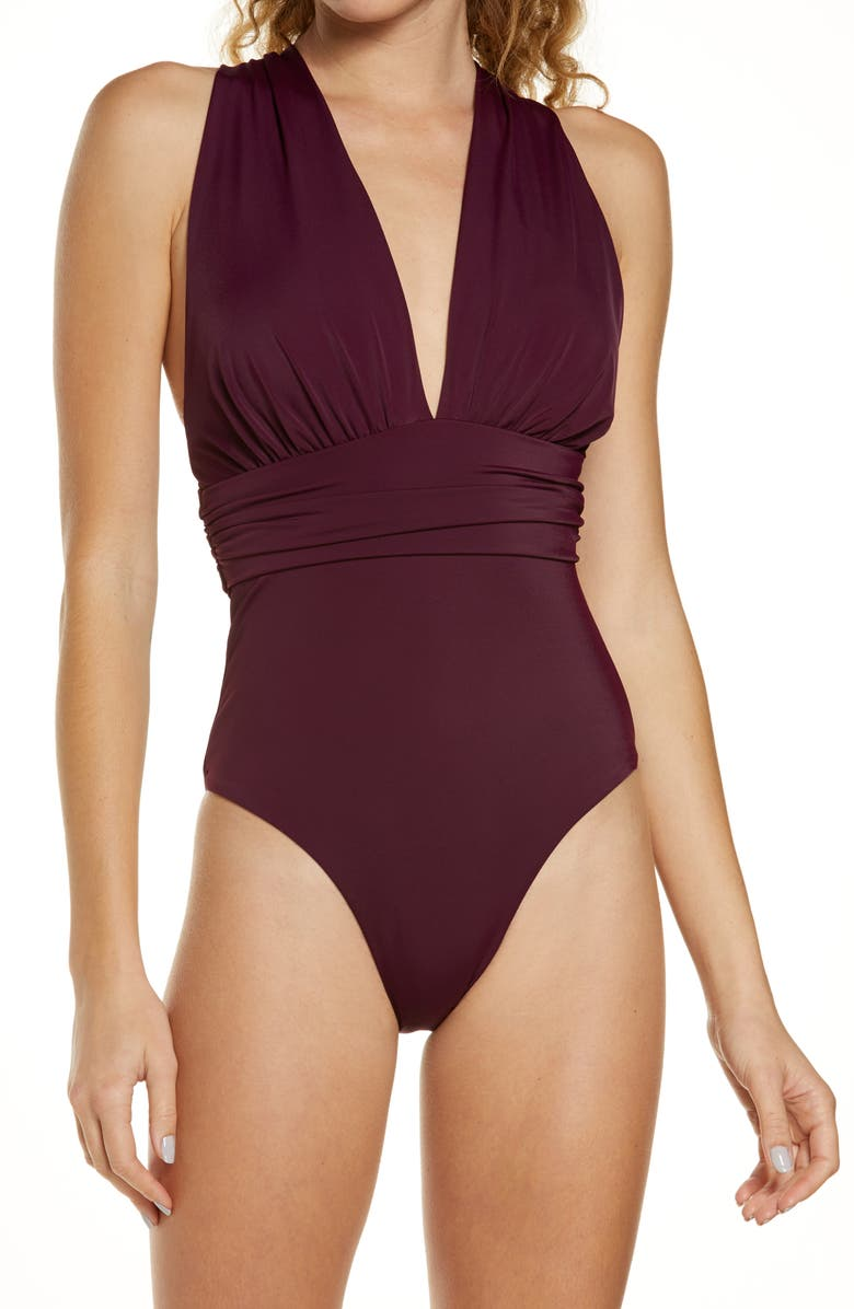 CHELSEA28 Convertible One-Piece Swimsuit, Main, color, PURPLE NECTAR