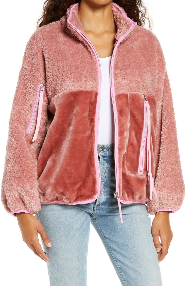 UGG<SUP>®</SUP> Marlene Faux Fur Jacket, Main, color, VINTAGE ROSE