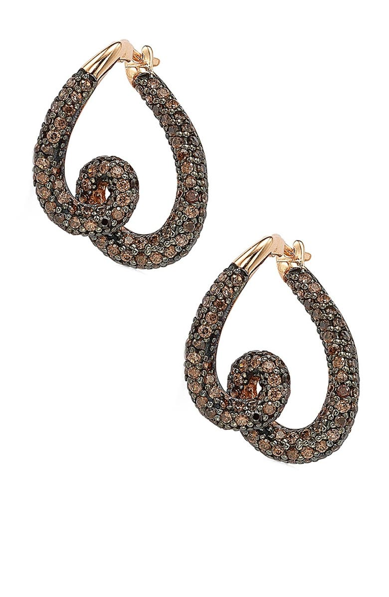 SUZY LEVIAN 14K Rose Gold Plated Sterling Silver Chocolate CZ Twisted Hoop Earrings, Main, color, BROWN