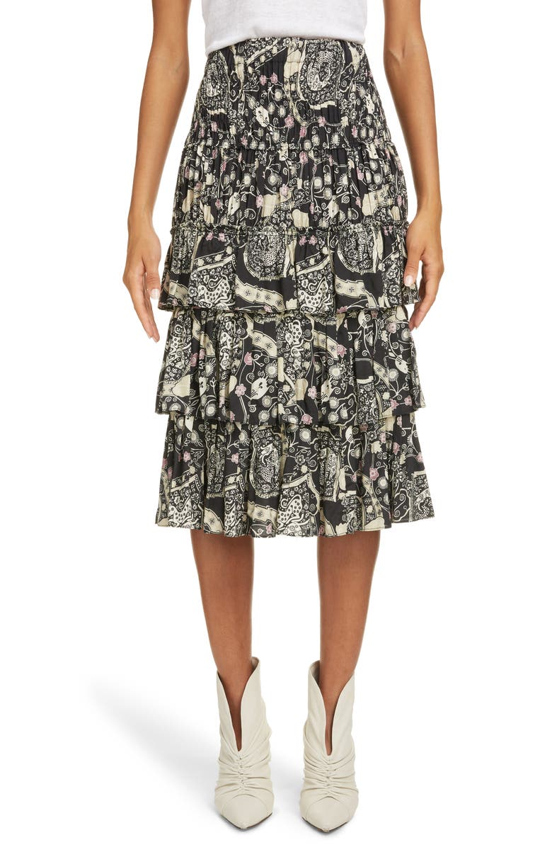 ISABEL MARANT ÉTOILE Cencia Tiered Skirt, Main, color, 001