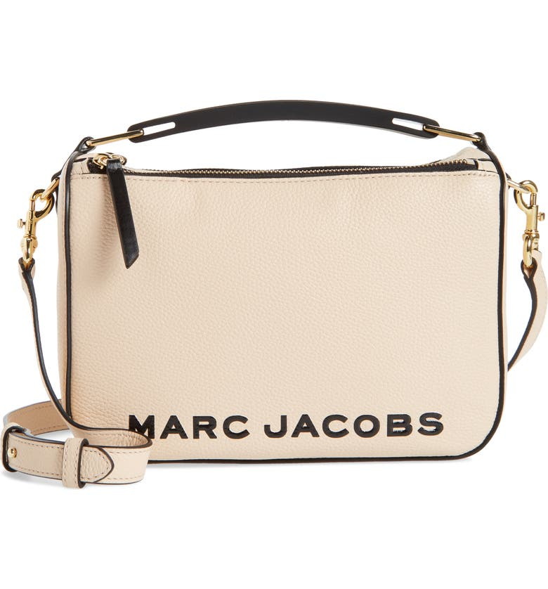 THE MARC JACOBS The Box 23 Leather Handbag, Main, color, APRICOT BEIGE