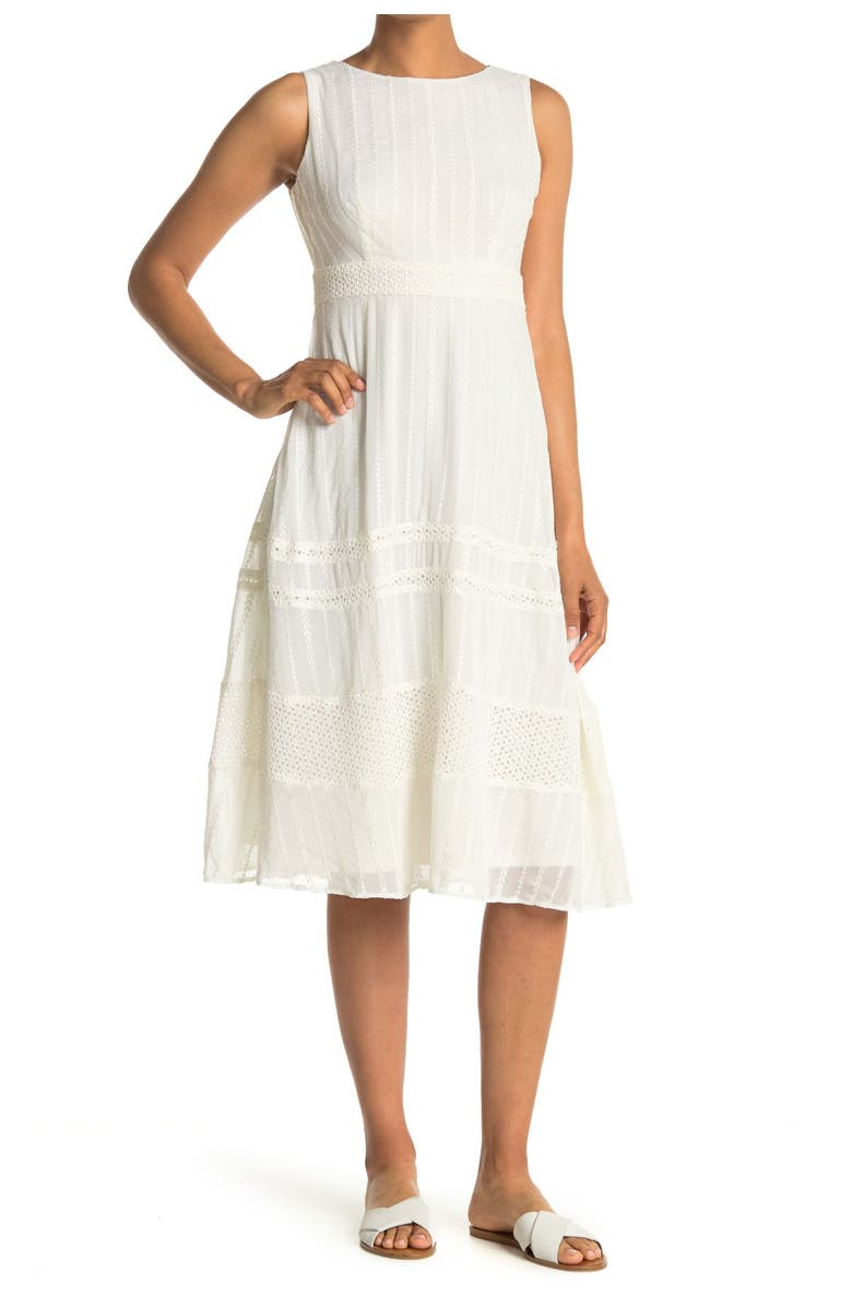 TAYLOR DRESSES Embroidered Round Neck Chiffon Midi Dress, Main, color, IVORY