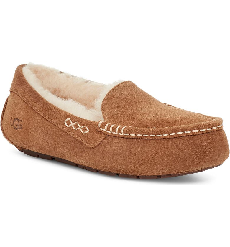 UGG<SUP>®</SUP> Ansley Water Resistant Slipper, Main, color, CHESTNUT SUEDE