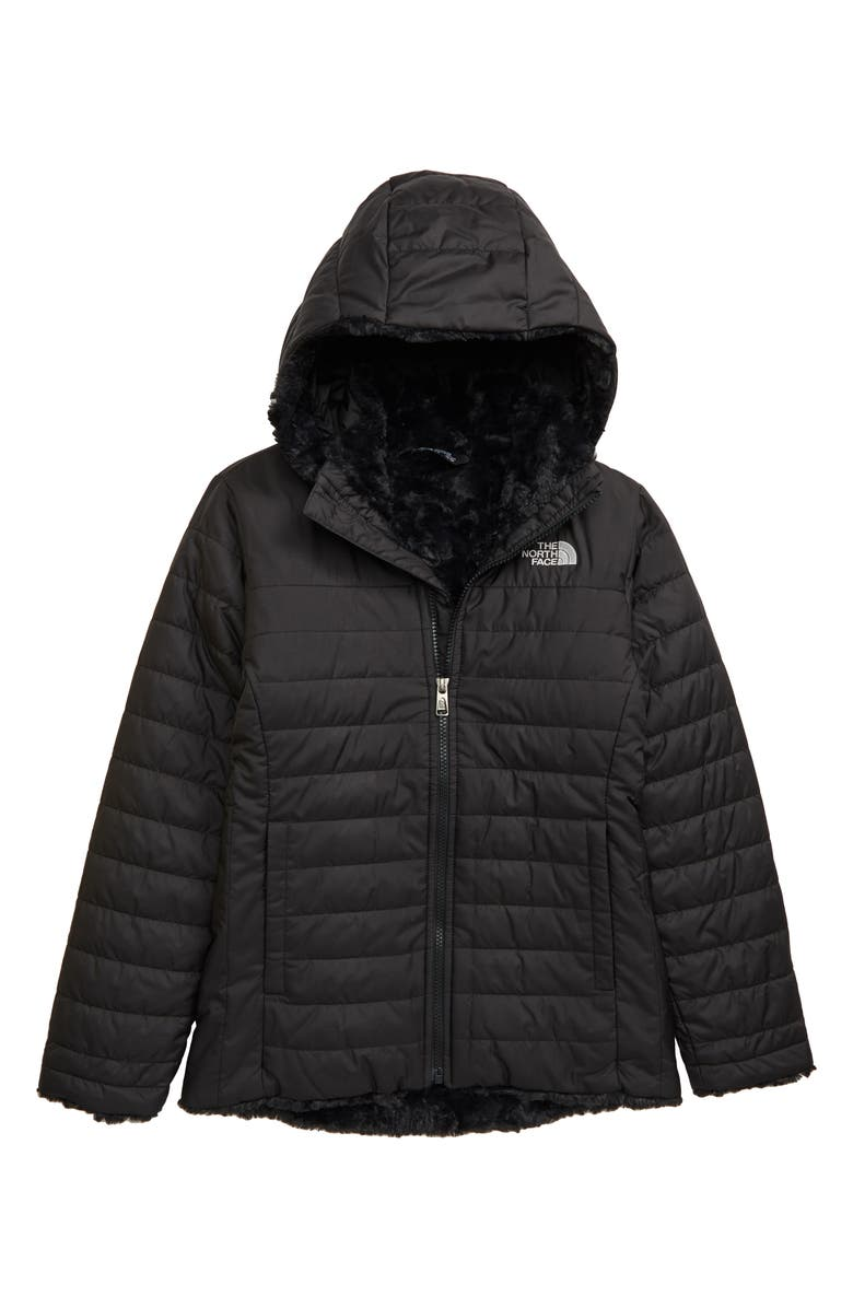THE NORTH FACE Mossbud Swirl Reversible Water Repellent Heatseeker<sup>™</sup> Jacket, Main, color, 001