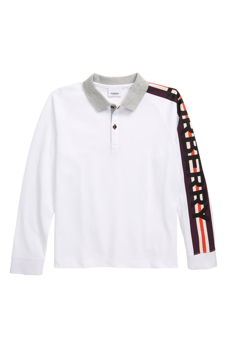 BURBERRY Duncan Piqué Cotton Polo, Main, color, 100