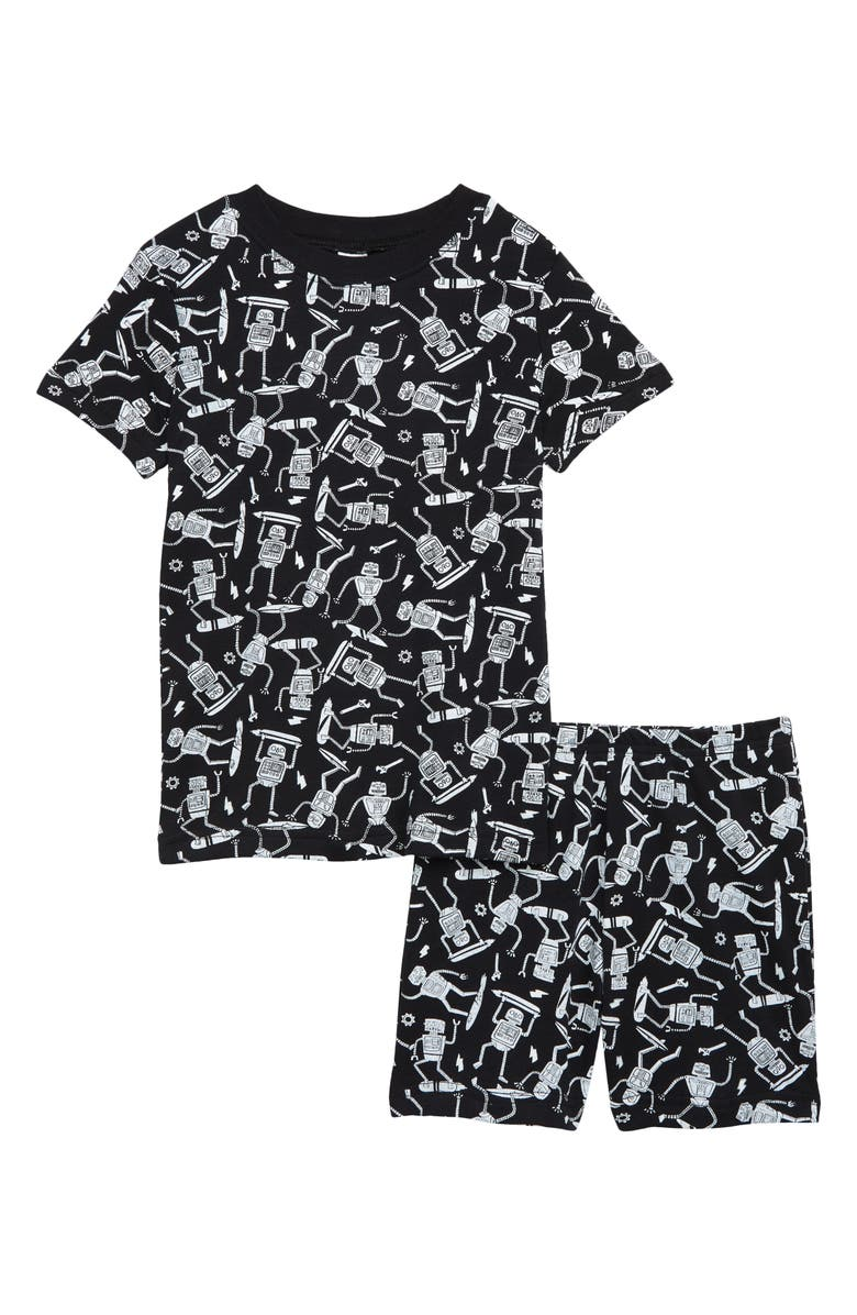 TUCKER + TATE Kids' Glow In The Dark Fitted Two-Piece Short Pajamas, Main, color, 001