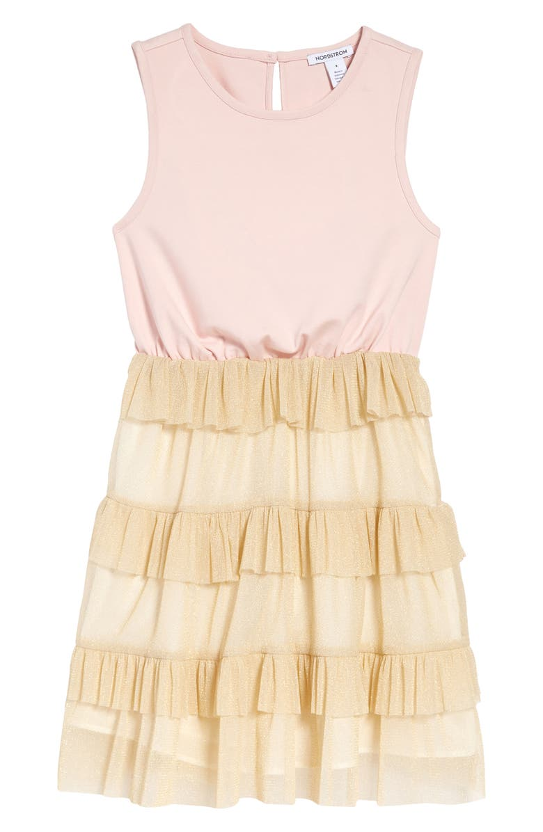 NORDSTROM Kids' Tiered Ruffle Dress, Main, color, PINK LOTUS- GOLD SPARKLE