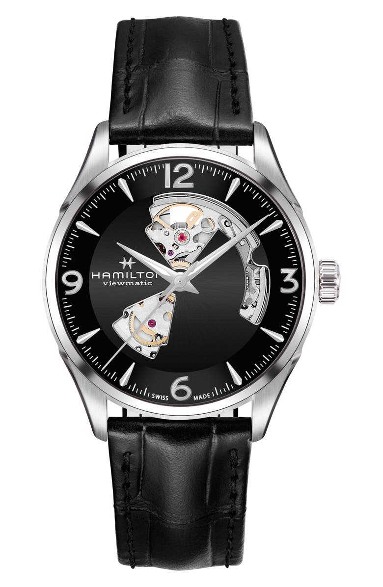 HAMILTON Jazzmaster Open Heart Automatic Leather Strap Watch, 42mm, Main, color, 001