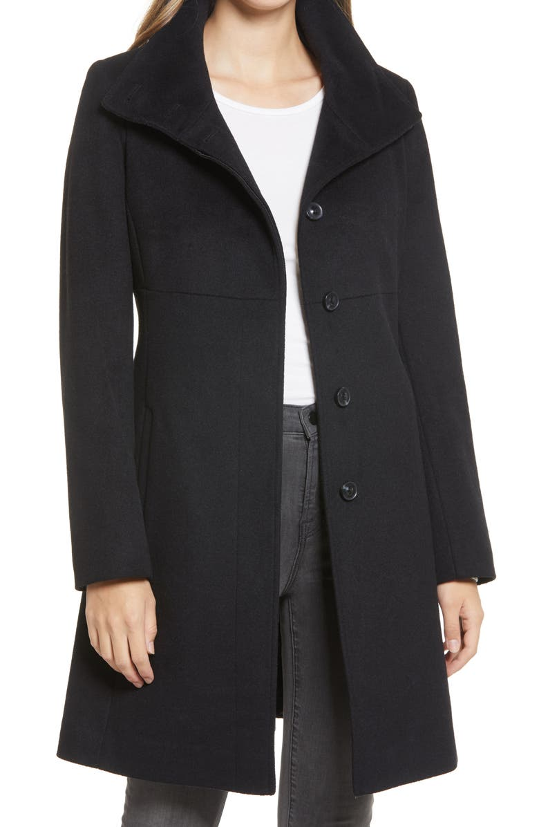 VIA SPIGA Stand Collar Wool Blend Coat, Main, color, BLACK