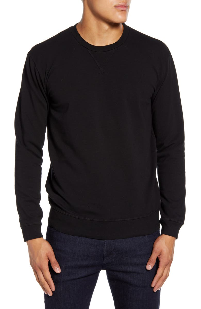 GOODLIFE Slim Micro Terry Crewneck Sweatshirt, Main, color, 001