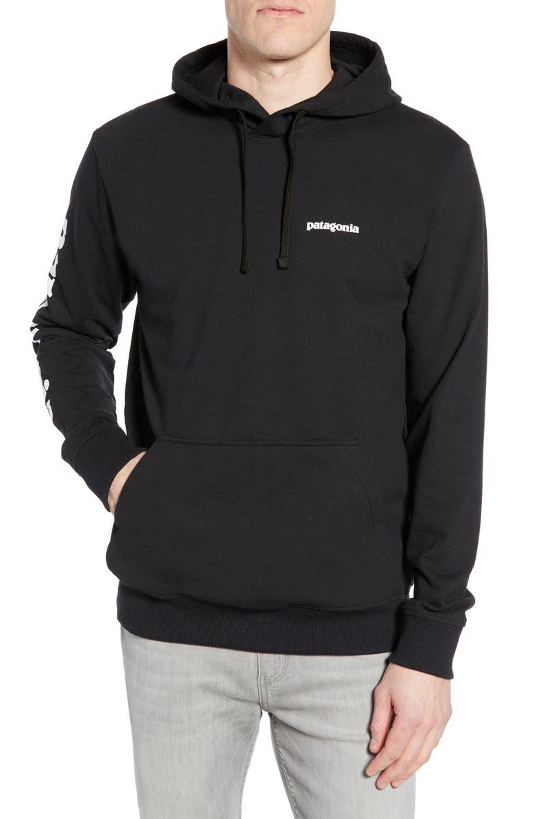 PATAGONIA Text Logo Uprisal Recycled Cotton Blend Hoodie, Main, color, 001
