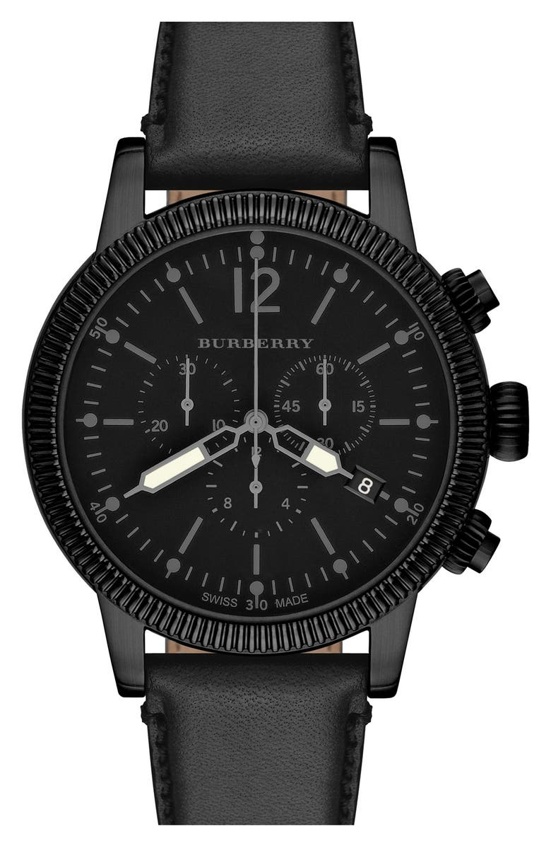 BURBERRY Round Leather Strap Watch, 42mm, Main, color, Black