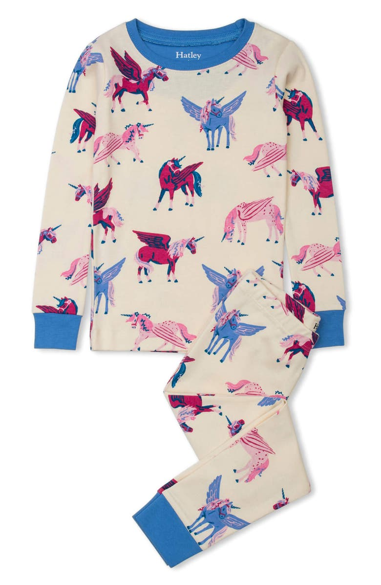 HATLEY Kids' Mystical Unicorns Organic Cotton Fitted Two-Piece Pajamas, Main, color, NATURAL