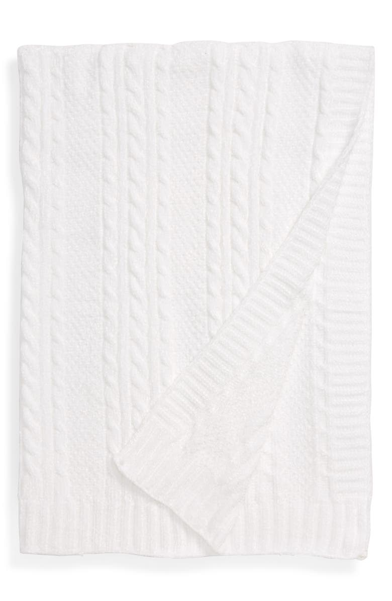 NORDSTROM Chenille Cable Knit Blanket, Main, color, 100