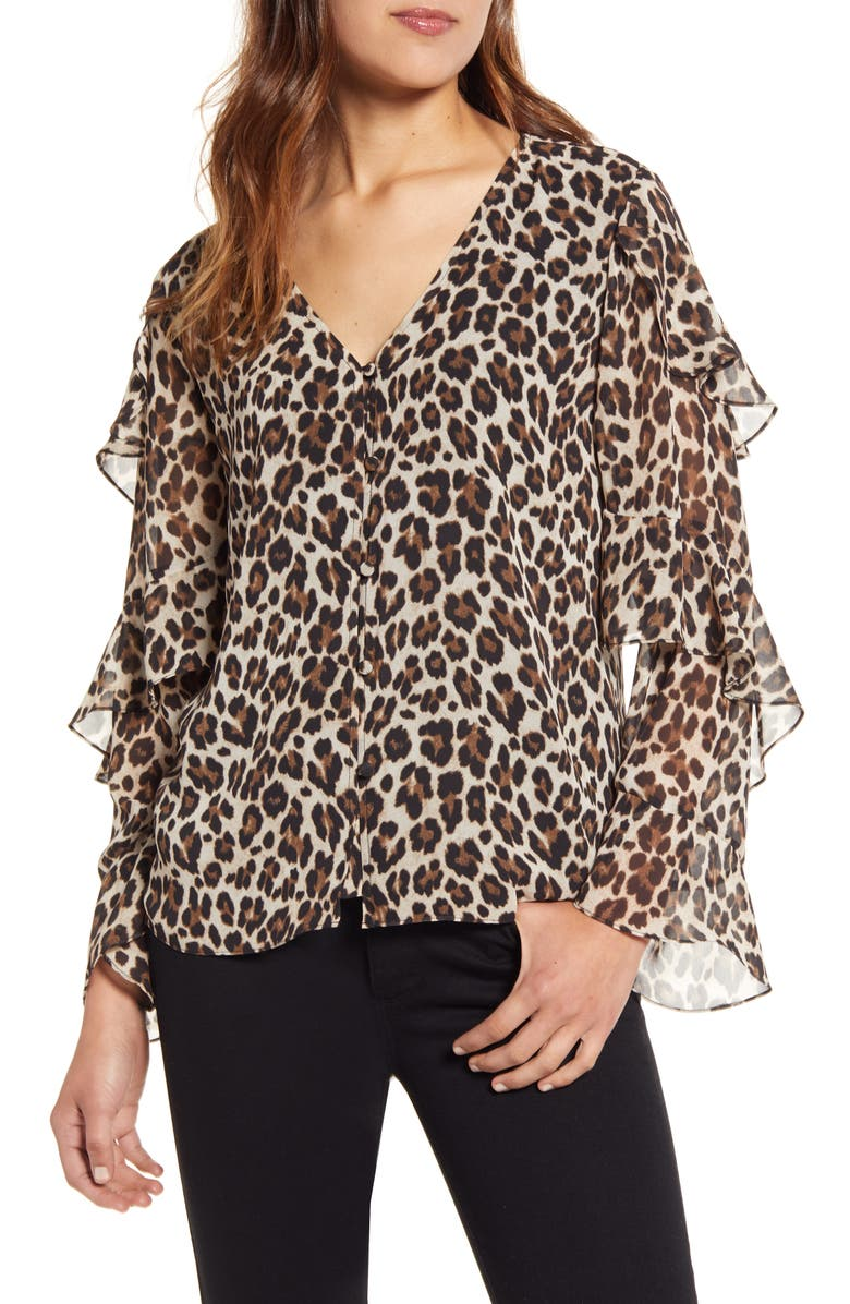 VINCE CAMUTO Leopard Print Tiered Sleeve Blouse, Main, color, 006