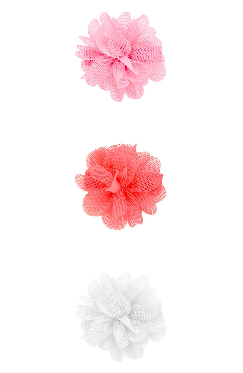 PLH BOWS 3-Pack Mesh Flower Hair Clips, Main, color, 810