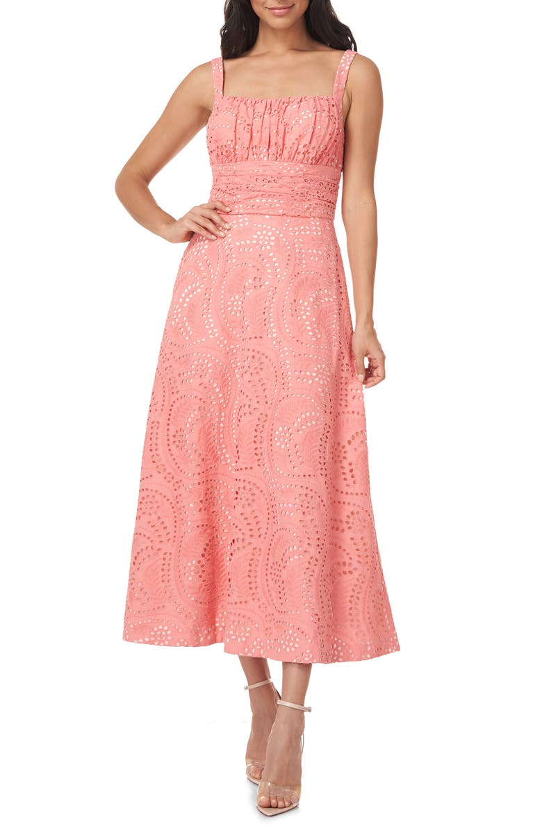 KAY UNGER Coty Cotton Eyelet A-Line Dress, Main, color, SUMMER CORAL