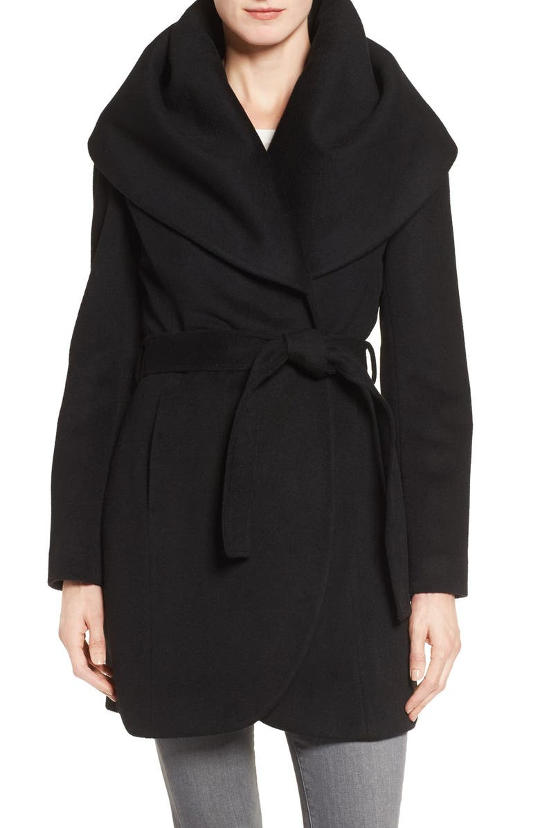 TAHARI T Tahari Wool Blend Belted Wrap Coat, Main, color, 001