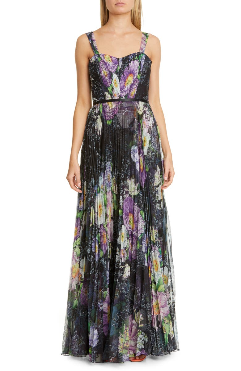MARCHESA NOTTE Floral Pleated Tulle Gown, Main, color, BLACK