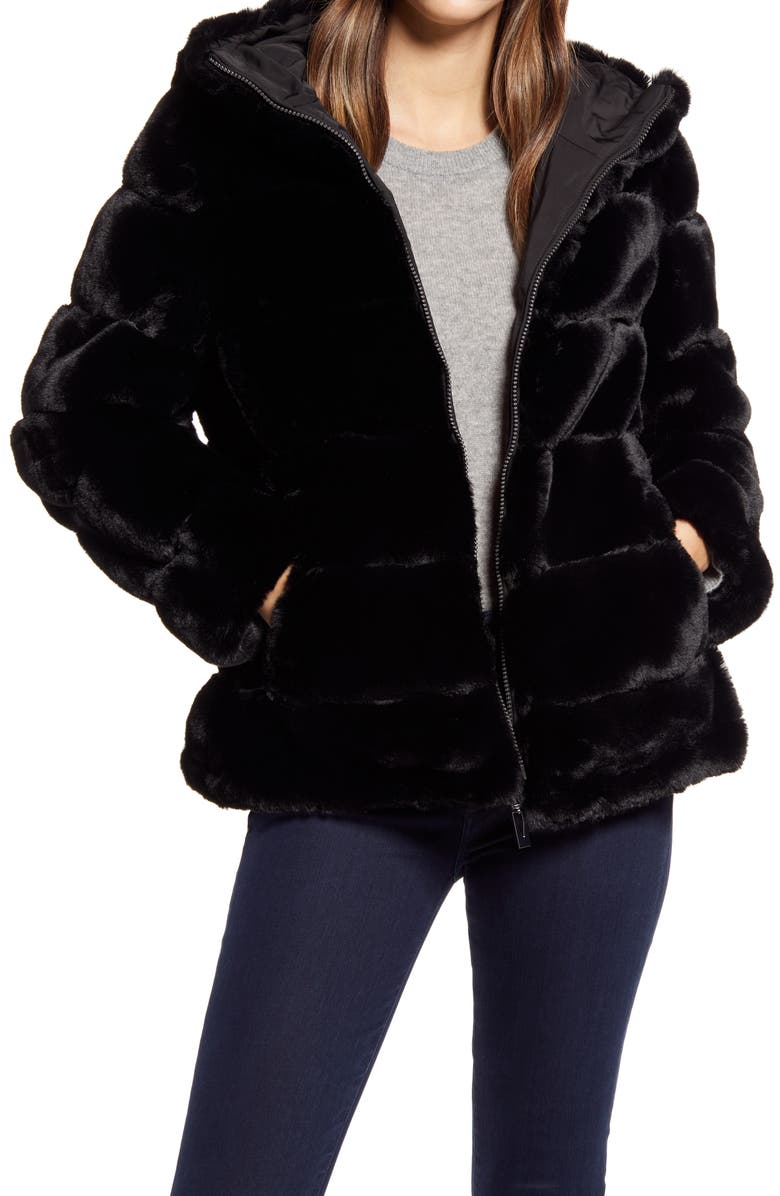 VIA SPIGA Hooded Faux Fur Coat, Main, color, BLACK