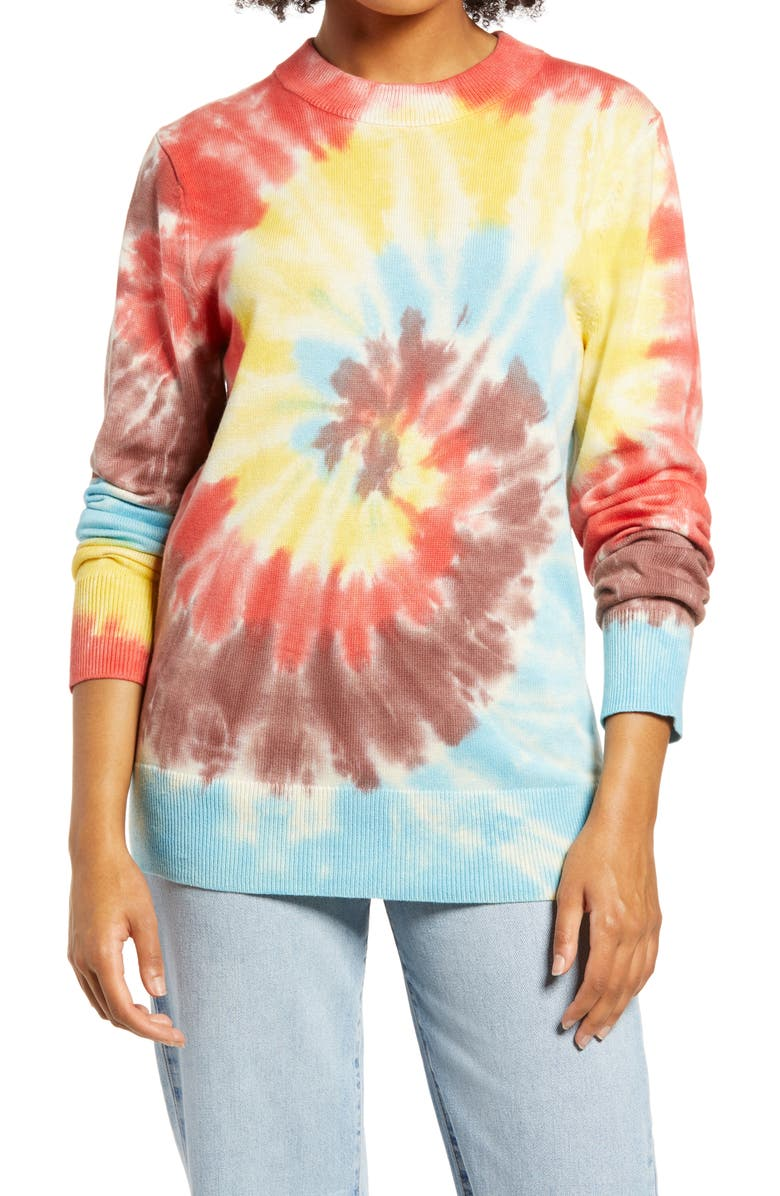 BP. Be Proud by BP. Gender Inclusive Tie Dye Crewneck Sweater, Main, color, RED MULTI TIE DYE