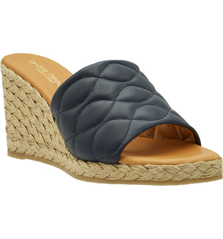 ANDRÉ ASSOUS Analise Espadrille Wedge Sandal, Main, color, NAVY NAPPA LEATHER