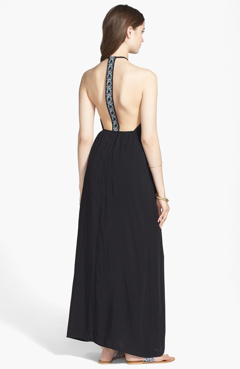 MIMI CHICA Embroidered T-Back Maxi Dress, Main, color, 001