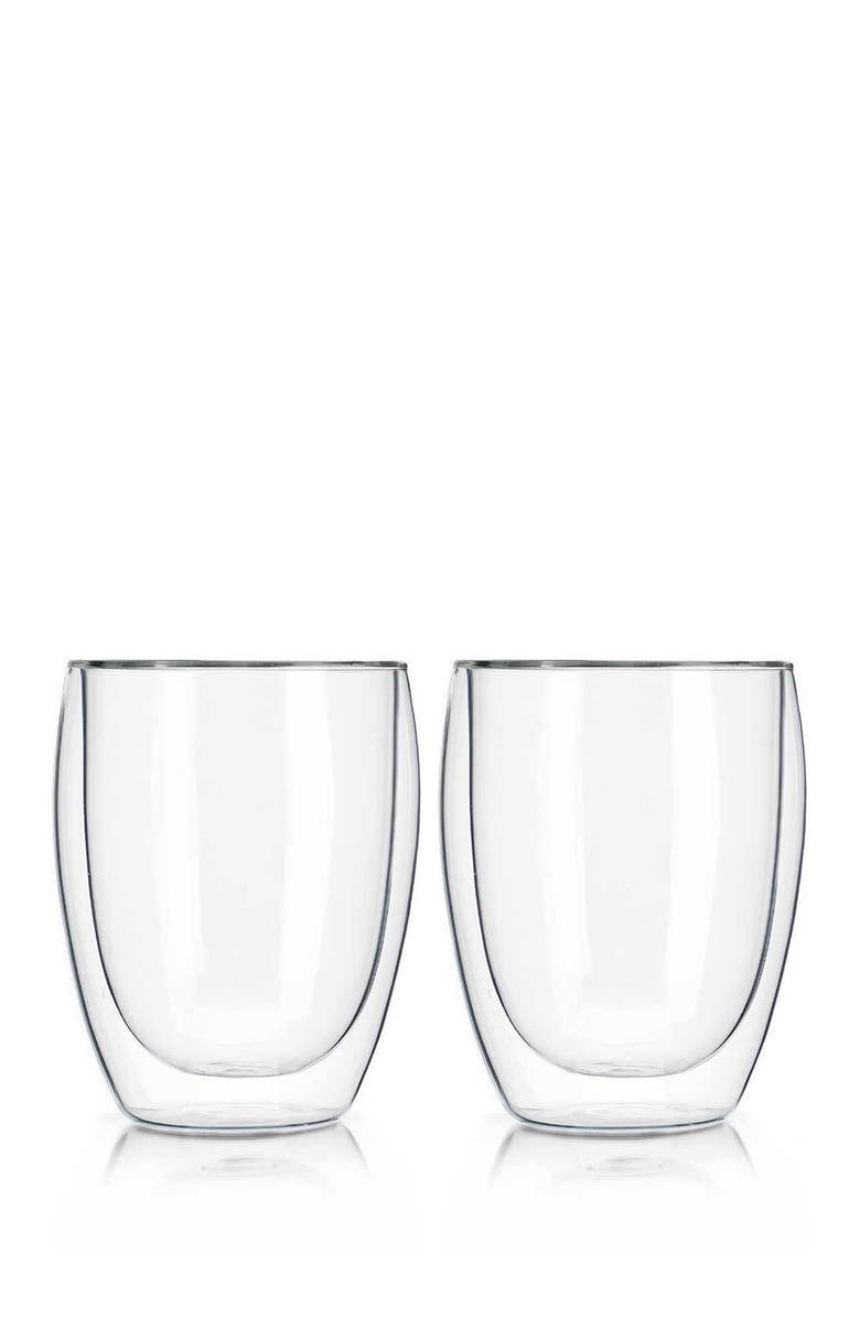 HOME ESSENTIALS AND BEYOND Tempered Double Wall 350ml Glass - Set of 2, Main, color, NO COLOR