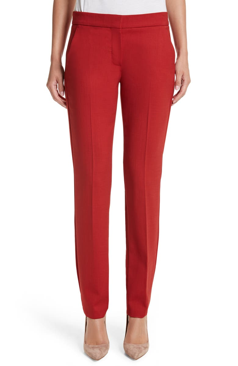 MAX MARA Oscuro Stretch Wool Pants, Main, color, RED
