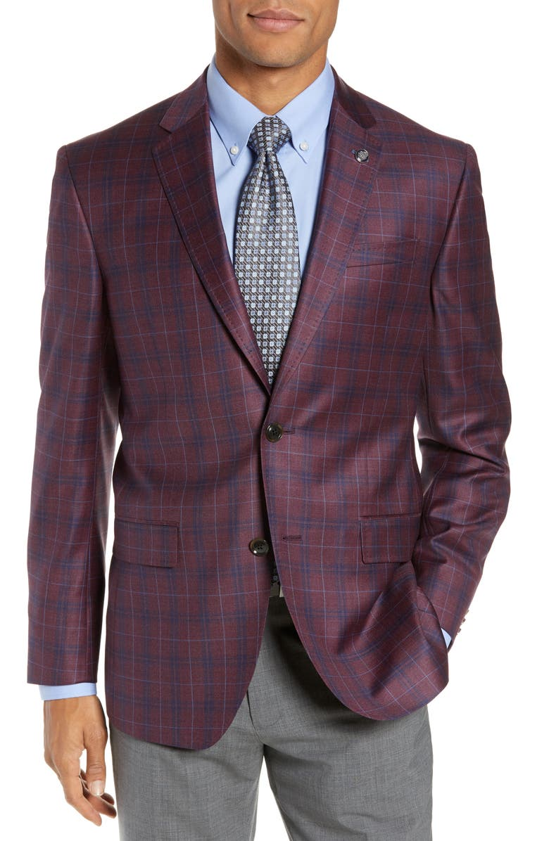 TED BAKER LONDON Jay Trim Fit Plaid Wool Sport Coat, Main, color, 602